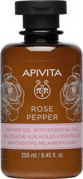 Apivita Rose Pepper Shower Gel, Αφρόλουτρο με Τριαντάφυλλο & Μαύρο Πιπέρι, 250ml
