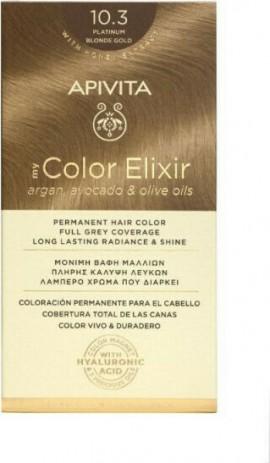 Apivita Βαφή Μαλλιών Μόνιμη 10.3 My Color Elixir Κατάξανθο Μελί