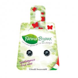 Farma Bijoux Σκουλαρίκια Μαύρο Κρύσταλλο 6.2mm, 1 Ζευγάρι