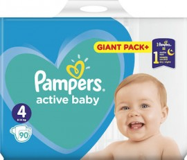 Pampers Active Baby Giant Pack Πάνες No4 (9-14 kg), 90 τεμάχια