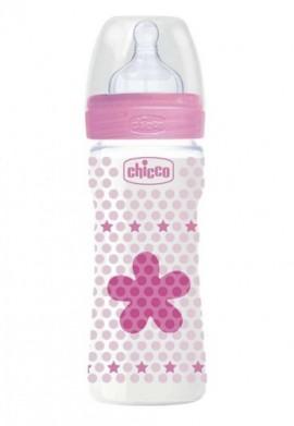 Chicco Πλαστικό Μπιμπερό Well Being Μέτριας Ροής, Θηλή Σιλικόνης, 2m+ Ροζ, 250ml
