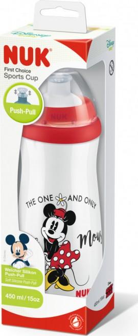Nuk First Choice Sports Cup Disney Minnie Mouse, Παγουράκι με Καπάκι Push Pull από Σιλικόνη, 450ml (10.255.413)