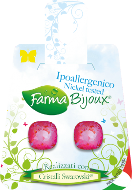 Farma Bijoux Σκουλαρίκια Τετράγωνο Φούξια 10mm, 1 Ζευγάρι