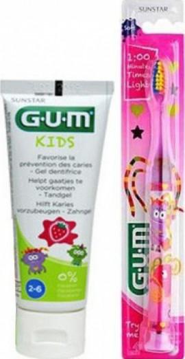 Gum Light-Up 903 Παιδική Οδοντόβουρτσα Με Φωτεινή Ένδειξη Χρώμα Ροζ και Δώρο Οδοντόκρεμα Gum Kids 2-6 Ετών, 50ml