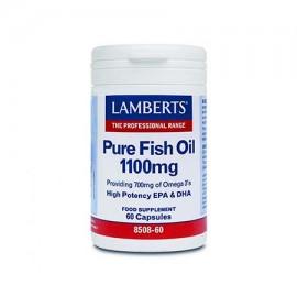 Lamberts Pure Fish Oil 1100mg Συμπλήρωμα Ιχθυελαίων για Καρδιά, Αρθρώσεις, Δέρμα & Εγκέφαλο 60caps