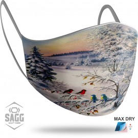 Unisex Μάσκα Προστασίας Christmas Winter Birds, SAGG