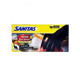 Γάντια Μιας Χρήσης Μαύρα Νιτριλίου Sanitas, χωρίς Latex, χωρίς Πούδρα No Large, 50τμχ