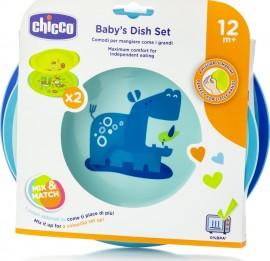 Chicco Dish Set Σετ Γεύματος Πιάτο και Μπωλ Γαλάζιο 12Μ+, 2 τμχ