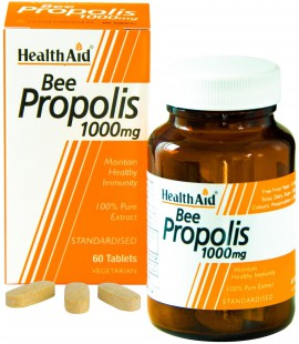 HealthAid Bee Propolis 1000mg Συμπλήρωμα Διατροφής με Πρόπολη για Ενίσχυση του Ανοσοποιητικού με Αντιμικροβιακές & Αντισηπτικές Ιδιότητες, 60tabs