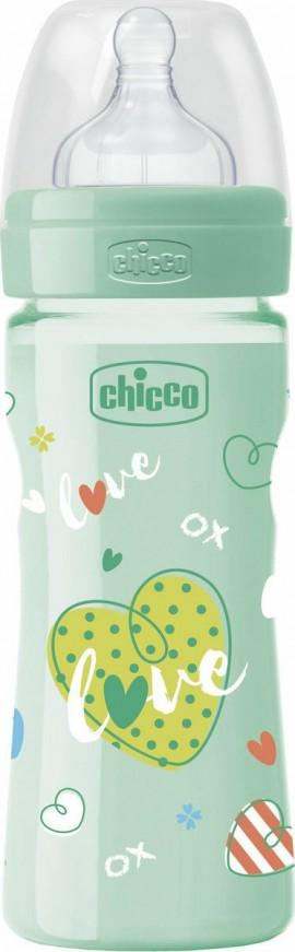 Chicco Well-Being Μπιμπερό Green Πλαστικό Θηλή Σιλικόνης Μέτρια Ροή 2m+ 250ml