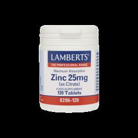 Lamberts Zinc 25 mg Citrate, Συμπλήρωμα Ψευδάργυρου, 120 ταμπλέτες (8286-120)