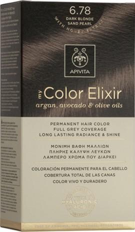 Apivita Βαφή Μαλλιών 6.78 My Color Elixir Κit Μόνιμη Ξανθό Σκούρο Μπεζ Περλέ