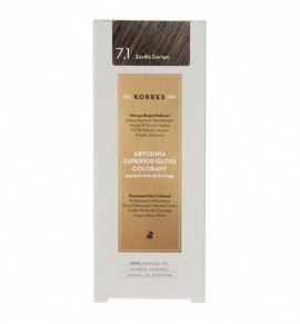 Korres Abyssinia Superior Gloss Colorant Μόνιμη Βαφή Μαλλιών 7.1 Ξανθό Σαντρέ 50ml