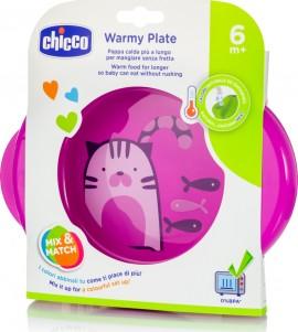Chicco Πιάτο WARMY PLATE Θερμός Ροζ 6Μ+, 1τμχ