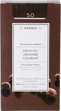 Korres Argan Oil Advanced Colorant Μόνιμη Βαφή Μαλλιών 5.0 Καστανό Ανοιχτό Φυσικό 50ml