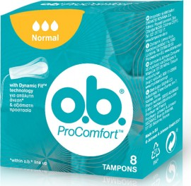 O.B. ProComfort Curved Grooves Normal, Ταμπόν OB για Κανονική Ροή, 8τμχ