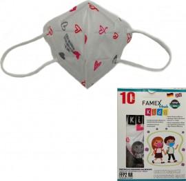 Famex Kids Mask FFP2 NR Pink Hearts, Παιδική Μάσκα Μιας Χρήσης Λευκή με Ροζ Καρδούλες, 10τμχ