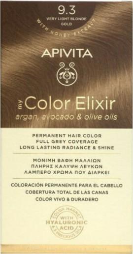 Apivita Βαφή Μαλλιών Μόνιμη 9.3 My Color Elixir Ξανθό Πολύ Ανοιχτό Μελί