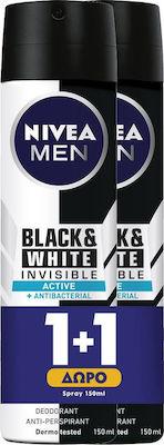 Nivea Men Αποσμητικό Spray για Άνδρες Protect Black & White Invisible Active 48ωρης Προστασίας 1+1 ΔΩΡΟ, 2x150ml
