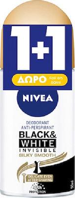 Nivea Αποσμητικό Roll-οn Γυναικείο Black & White Invisible Silky Smooth 48ωρης Προστασίας 1+1 ΔΩΡΟ, 2x50ml
