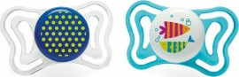 Chicco PhysioForma Light Σιλικόνης White/Blue Dots/Fish, Εργονομική Πιπίλα με Θηλή Σιλικόνης για Ηλικίες 16-36m 2τμχ