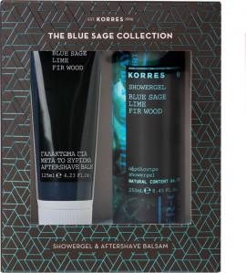 Korres Set Αφρόλουτρο Blue Sage, Lime & Fir Wood 250ml & Γαλάκτωμα Για Μετά το Ξύρισμα Blue Sage, Lime & Fir Wood 125ml