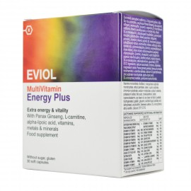 Eviol MultiVitamin Energy Plus Συμπλήρωμα Διατροφής για Έξτρα Ενέργεια & Τόνωση, 30 Μαλακές Κάψουλες