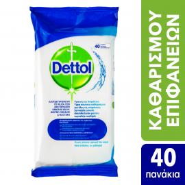 Dettol Αντιβακτηριδιακά Μαντηλάκια Καθαρισμού Επιφανειών χωρίς χλώριο, χρώμα & οσμή, 40 τεμάχια