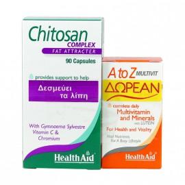 Health Aid Chitosan 90caps + Δώρο A to Z Multivit 30tabs