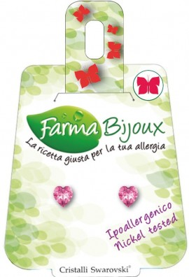 Farma Bijoux Σκουλαρίκια Ροζ Καρδιά 5mm, 1 Ζευγάρι