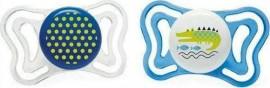 Chicco PhysioForma Light Σιλικόνης Blue/White Dots/Crocodile, Εργονομική Πιπίλα με Θηλή Σιλικόνης για Ηλικίες 16-36m 2τμχ