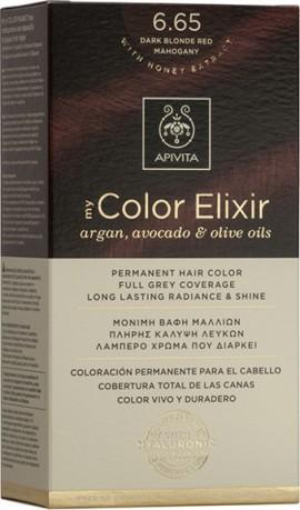 Apivita Βαφή Μαλλιών 6.65 My Color Elixir Κit Μόνιμη Έντονο Κόκκινο