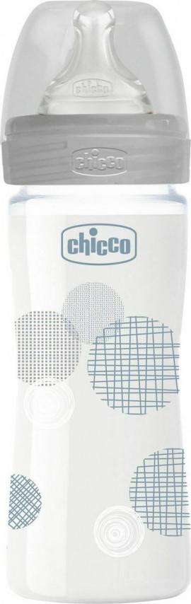 Chicco Μπιμπερό Γυάλινο Well Being Θηλή Σιλικόνης Αργή Ροή Unisex 0m+ 240ml