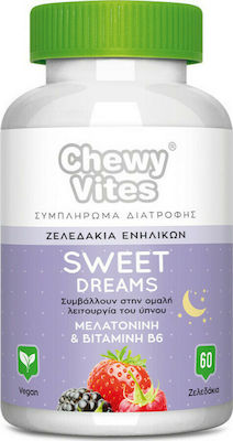Vican Chewy Vites Sweet Dreams Συμπλήρωμα Διατροφής Ενηλίκων για Αντιμετώπιση τη Αϋπνίας - Γεύση Φρούτα του Δάσους, 60 Ζελεδάκια
