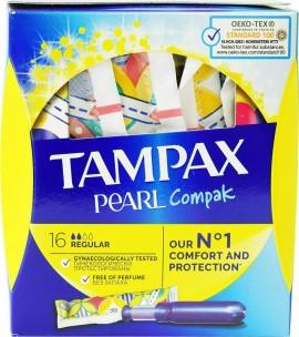 Tampax Compak Pearl Regular, Ταμπόν Υψηλής Απορροφητικότητας για Κανονική Ροή, 16 τεμάχια