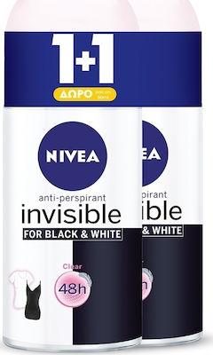 Nivea Αποσμητικό Roll-on Γυναικείο Black & White Invisible Clear 48ωρης Προστασίας 1+1 ΔΩΡΟ, 2x50ml