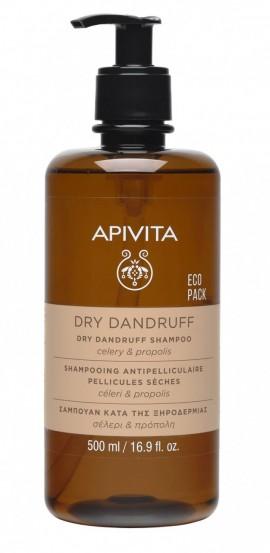 Apivita Dry Dandruff Shampoo Eco Pack Σαμπουάν κατά της Ξηροδερμίας με Σέλερι και Προπόλη, 500ml