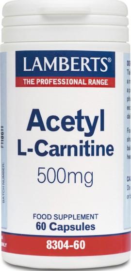 Lamberts Acetyl L-Carnitine 500mg, Συμπλήρωμα με Καρνιτίνη για Ενίσχυση του Μεταβολισμό, 60 Κάψουλες