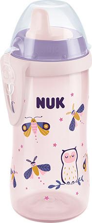 NUK Παγουράκι Kiddy Cup night 300 ml με ρύγχος (10.255.541), Μωβ - Ροζ, 1τμχ