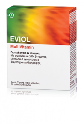 Eviol MultiVitamin Συμπλήρωμα Διατροφής για Ενέργεια & Τόνωση, 30 Μαλακές Κάψουλες