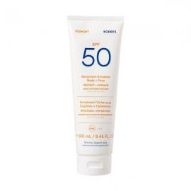 Korres Yoghurt Sunscreen Body & Face Αντηλιακό Γαλάκτωμα Σώματος & Προσώπου SPF50, 250ml