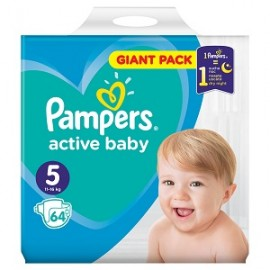 Pampers Πάνες Active Baby Giant Pack No5 11-16kg 64τμχ
