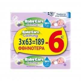 BabyCare Calming Pure Water Μωρομάντηλα Με Άρωμα Λεβάντας, 3x63τμχ