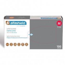 Γάντια Alfashield Εξεταστικά Latex Χωρίς Πούδρα (M) 100τμχ