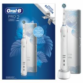 Oral-B Επαναφορτιζόμενη Ηλεκτρική Οδοντόβουρτσα Pro 2 2500 White Design Edition & Θήκη Ταξιδίου, 1τεμ.