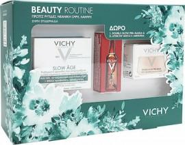 Vichy Πακέτο Προσφοράς Beauty Routine με Slow Age Cream SPF30 Αντιγηραντική Κρέμα Προσώπου για Ξηρή Επιδερμίδα, 50ml & Δώρο Double Glow Peel Mask Αναζωογονητική Μάσκα, 15ml & Liftactiv Glyco-C Night Peel Αμπούλα Νύχτας, 2ml