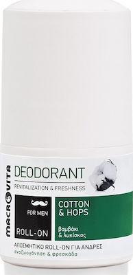 Macrovita Deodorant For Men Cotton & Hops, Αποσμητικό Roll-On για Άνδρες με Βαμβάκι & Λυκίσκο, 50ml
