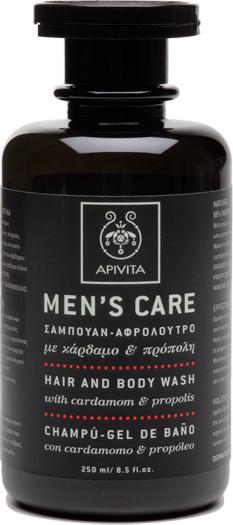Apivita Mens Care Hair & Body Wash, Σαμπουάν Αφρόλουτρο Με Κάρδαμο & Πρόπολη, 250ml