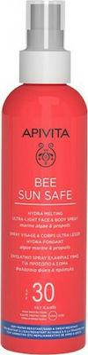 Apivita Bee Sun Safe Hydra Melting Ultra Light Face & Body Spray Ενυδατικό Αντιηλιακό Προσώπου Σώματος με Θαλάσσια Φύκη & Πρόπολη SPF30, 200ml