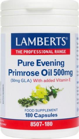 Lamberts Pure Evening Primrose Oil 500mg, Συμπλήρωμα με Έλαιο Νυχτολούλουδου με Βιταμίνη Ε για Γυναίκες κατά τη Διάρκεια της Περιόδου και της Εμμηνόπαυσης, 180 Κάψουλες (8507-180)